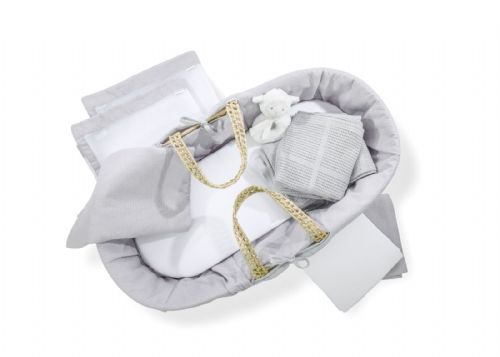 Ten Piece Moses Basket and Cot Bedding Set - Grey Cotton Dream